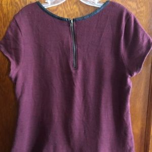 Merona Tops - Burgundy blouse with faux leather piping